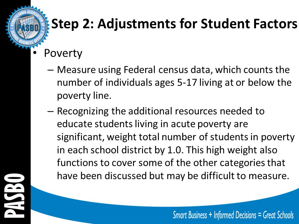 Step 2: Adjustments for Student Factors Poverty – Measure using Federal census data, which counts the number of individuals ages 5-17 living at or bel