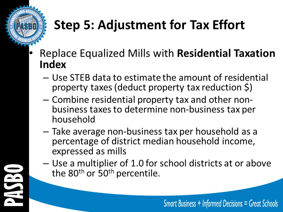 Replace Equalized Mills with Residential Taxation Index – Use STEB data to estimate the amount of residential property taxes (deduct property tax redu