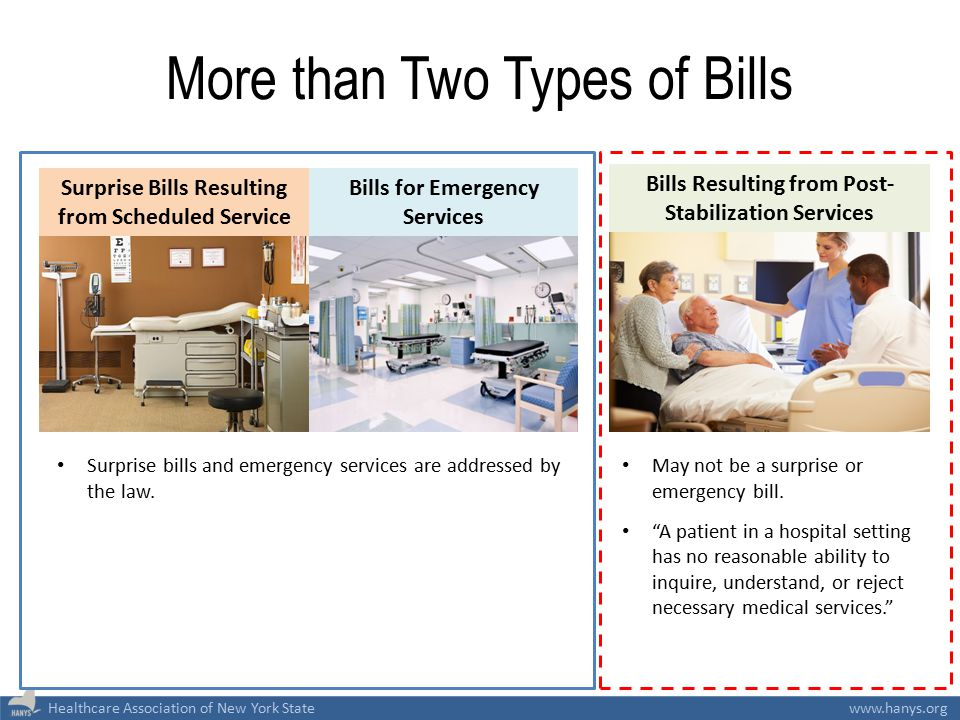 Healthcare Association of New York Statewww.hanys.org More than Two Types of Bills Surprise Bills Resulting from Scheduled Service Bills for Emergency
