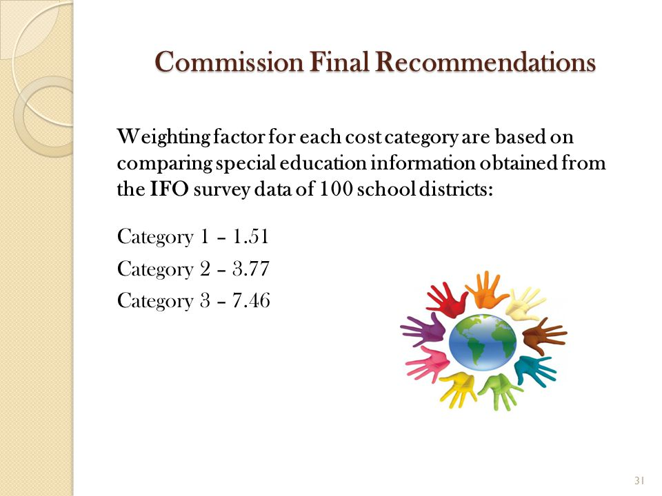 Commission Final Recommendations Weighting factor for each cost category are based on comparing special education information obtained from the IFO su