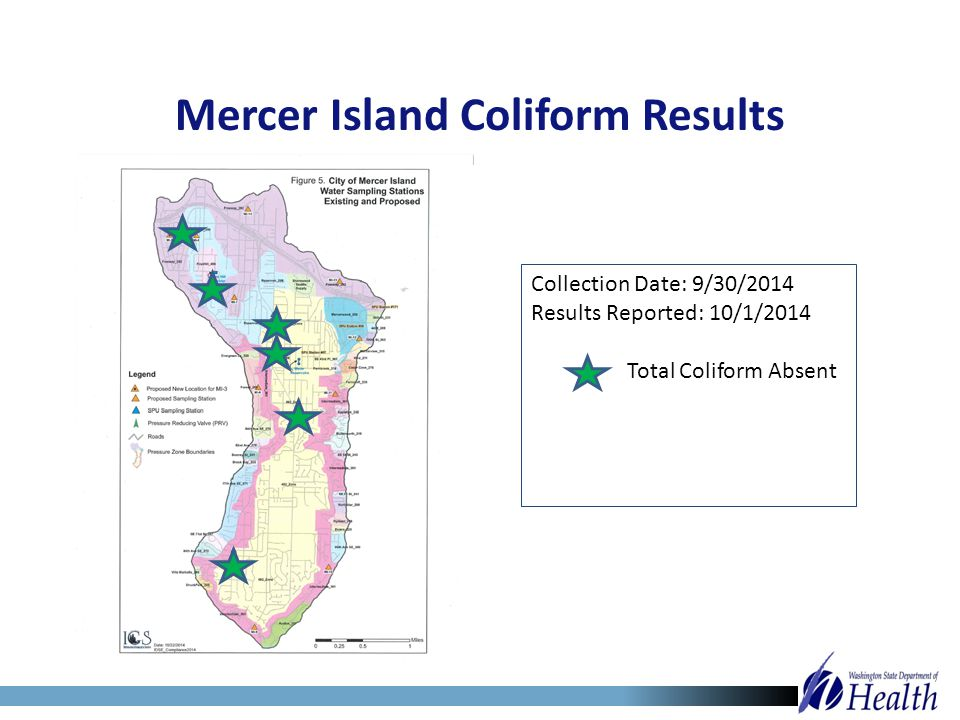 Collection Date: 9/30/2014 Results Reported: 10/1/2014 Total Coliform Absent Mercer Island Coliform Results