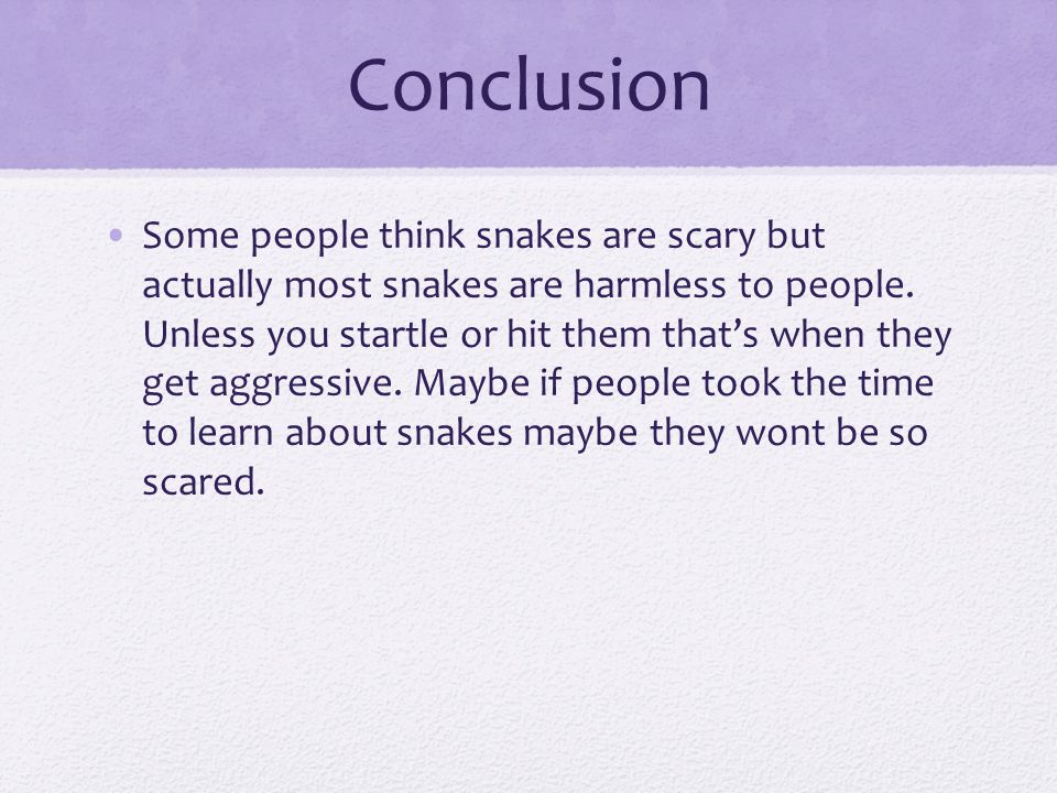 Conclusion Some people think snakes are scary but actually most snakes are harmless to people. Unless you startle or hit them that's when they get agg