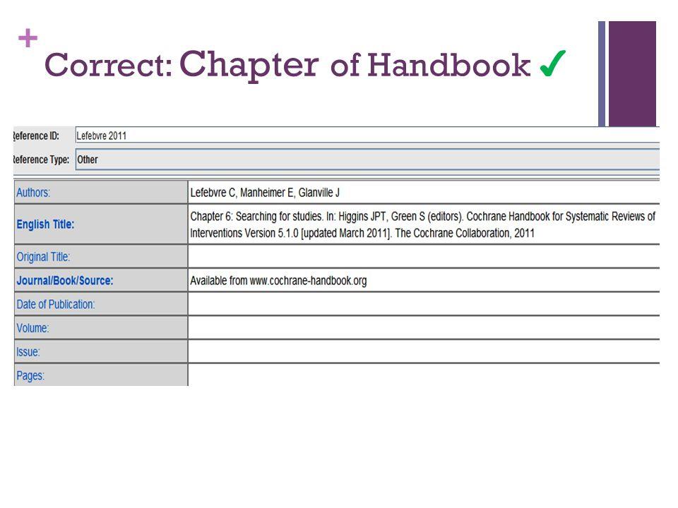 + Correct: Chapter of Handbook ✔