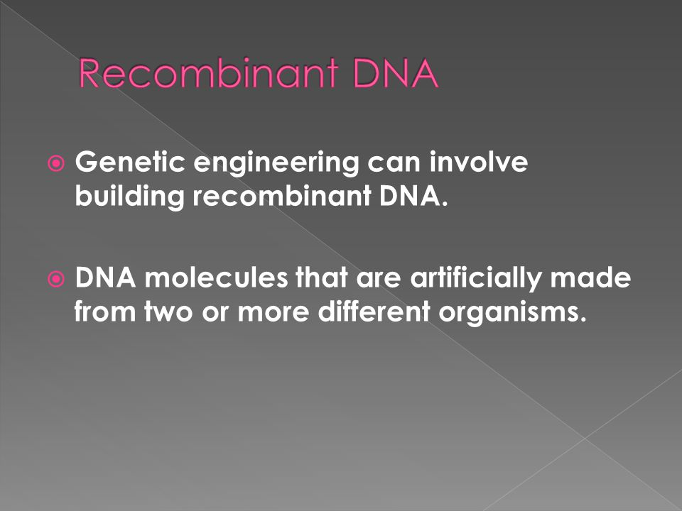  Genetic engineering can involve building recombinant DNA.  DNA molecules that are artificially made from two or more different organisms.