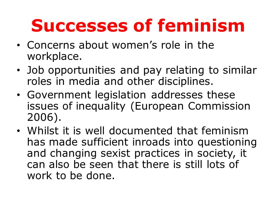 Successes of feminism Concerns about women's role in the workplace. Job opportunities and pay relating to similar roles in media and other disciplines