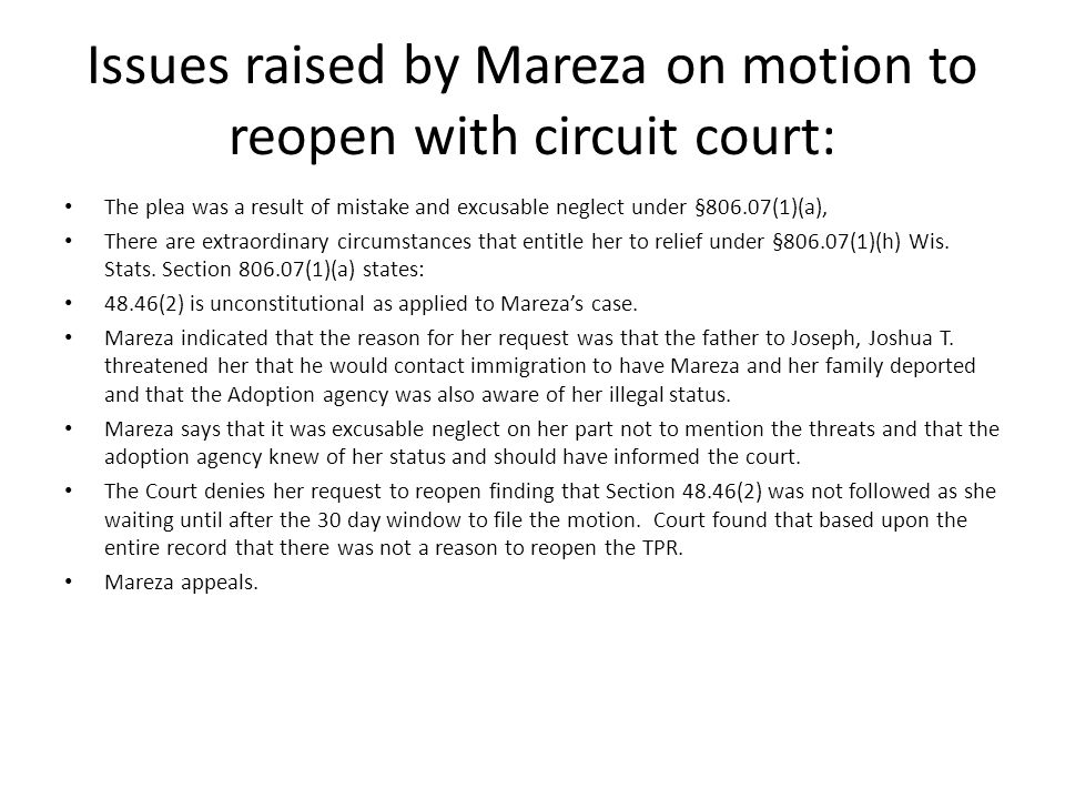 Issues raised by Mareza on motion to reopen with circuit court: The plea was a result of mistake and excusable neglect under §806.07(1)(a), There are