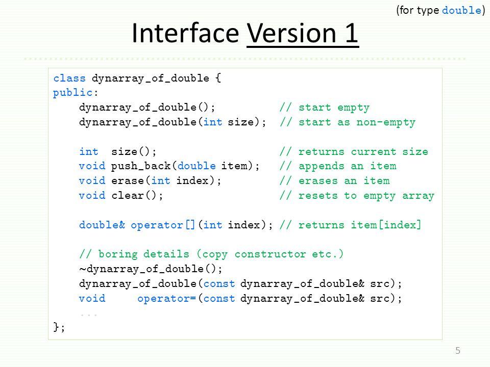 Exact-Size Representation 6 class dynarray_of_double {...