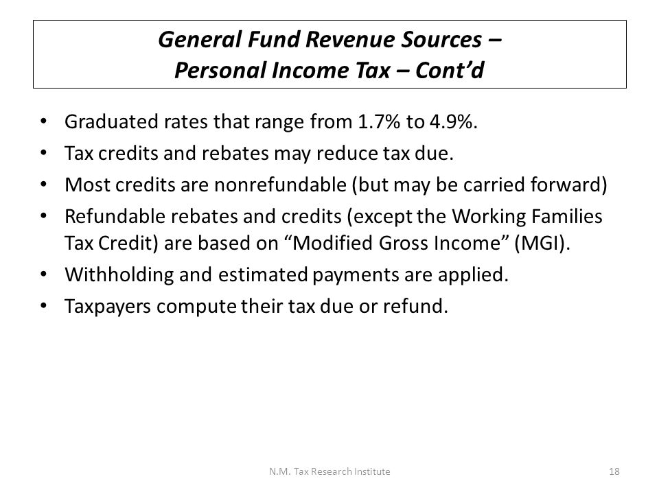 General Fund Revenue Sources – Personal Income Tax – Cont'd Graduated rates that range from 1.7% to 4.9%.