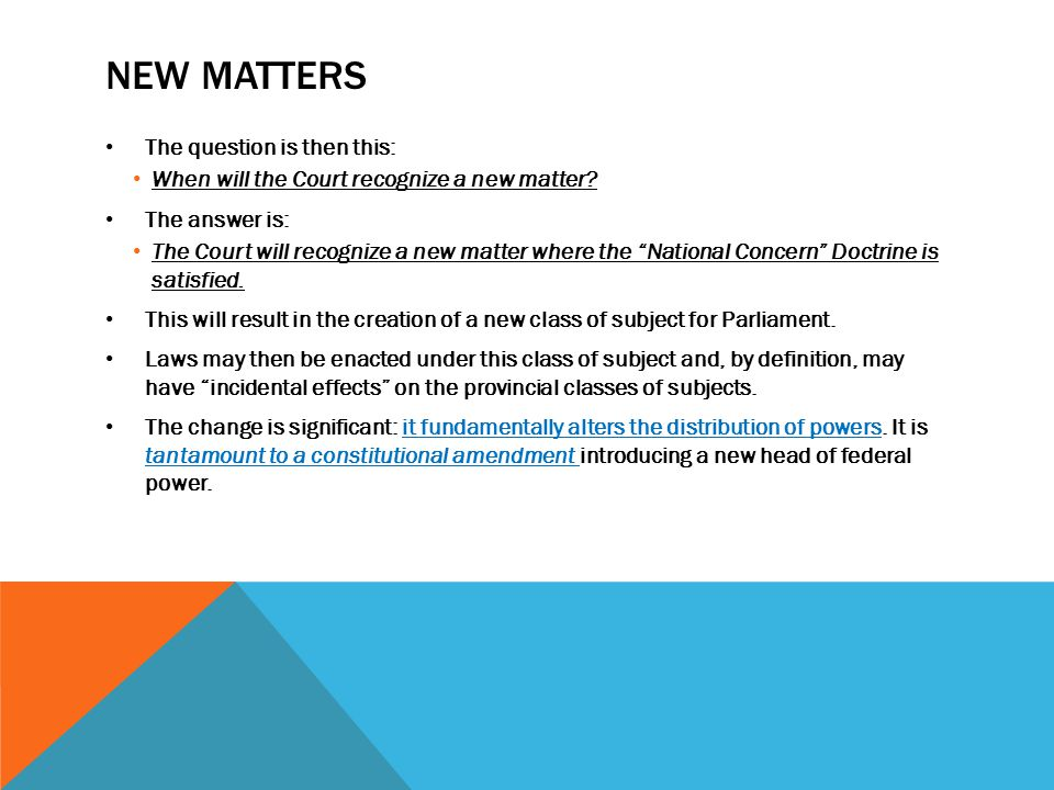 NATIONAL CONCERN DOCTRINE Where counsel assert that the matter of the law is new and the law, therefore, does not fit within any of the enumerated classes of subjects listed in ss.