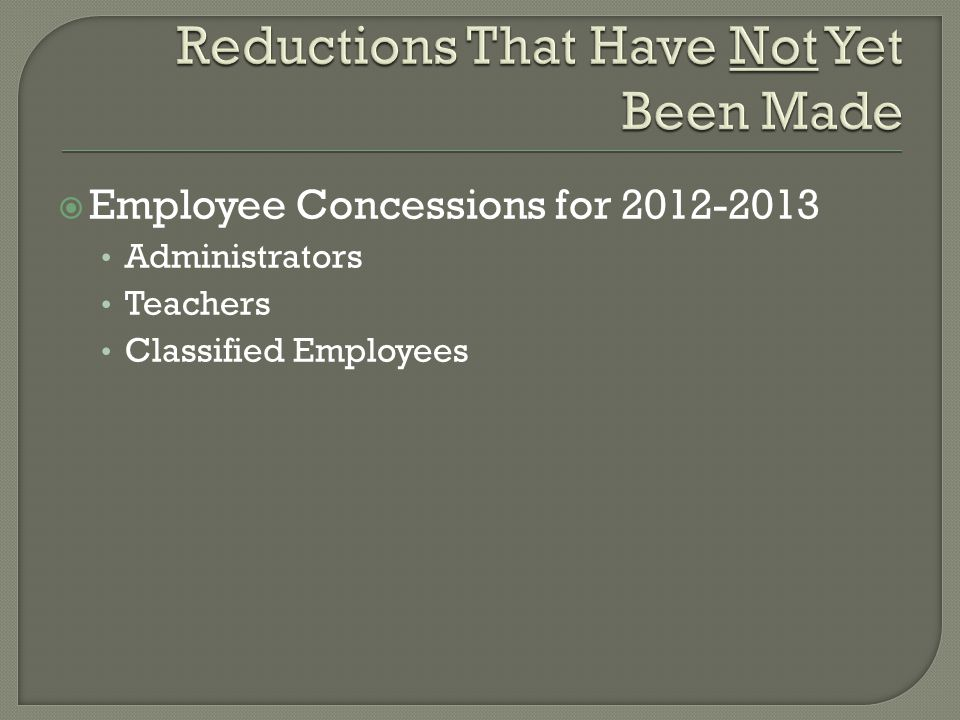  Employee Concessions for 2012-2013 Administrators Teachers Classified Employees