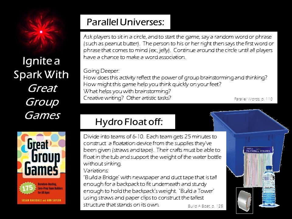 )) Ignite a Spark With Great Group Games Parallel Universes: Ask players to sit in a circle, and to start the game, say a random word or phrase (such as peanut butter).