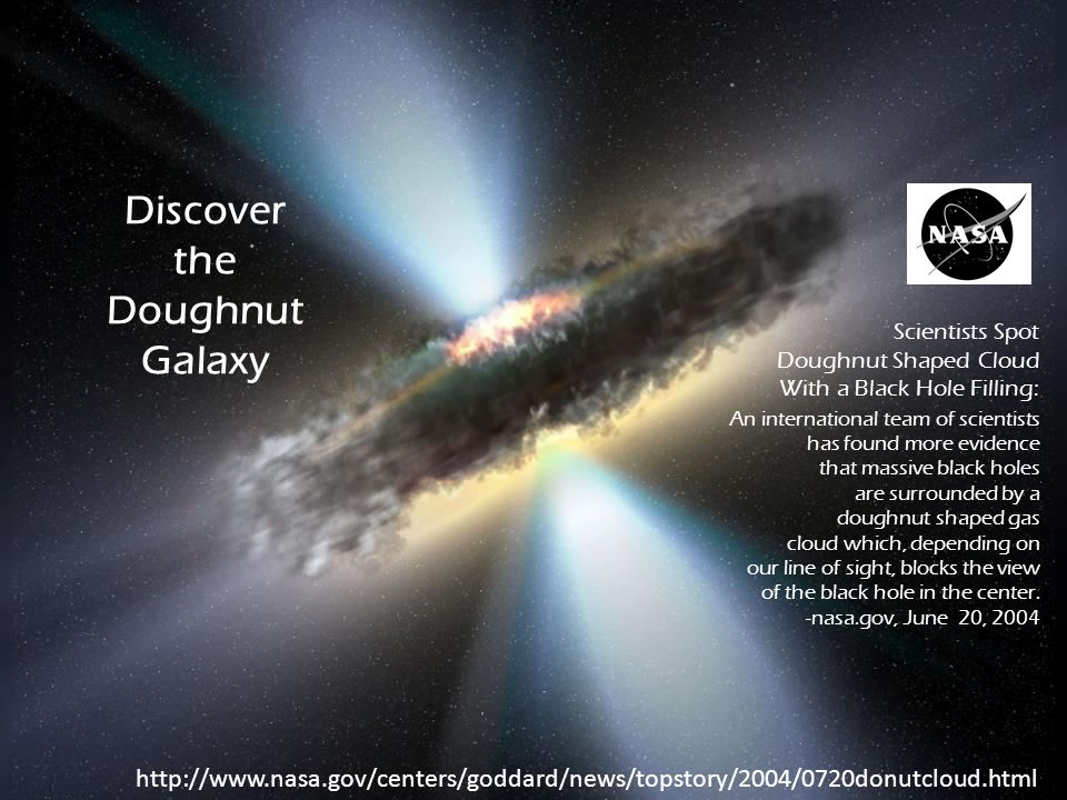 Discover the Doughnut Galaxy An international team of scientists has found more evidence that massive black holes are surrounded by a doughnut shaped gas cloud which, depending on our line of sight, blocks the view of the black hole in the center.