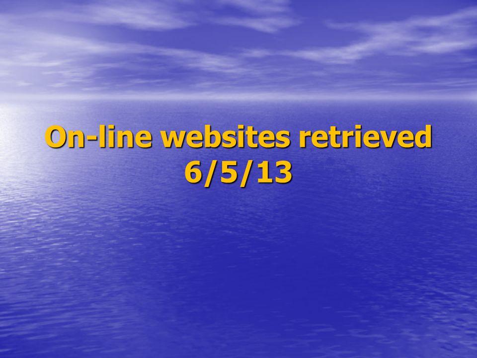 On-line websites retrieved 6/5/13