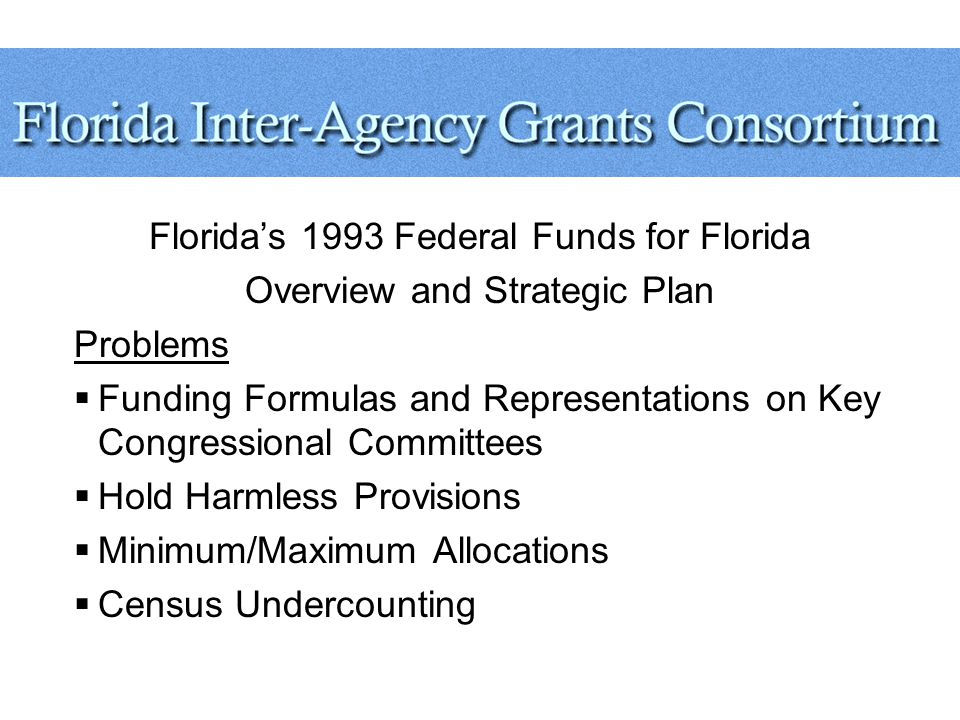 Florida's 1993 Federal Funds for Florida Overview and Strategic Plan Problems  Funding Formulas and Representations on Key Congressional Committees  Hold Harmless Provisions  Minimum/Maximum Allocations  Census Undercounting