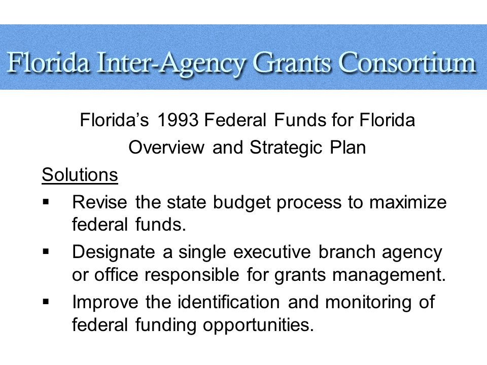 Florida's 1993 Federal Funds for Florida Overview and Strategic Plan Solutions  Revise the state budget process to maximize federal funds.