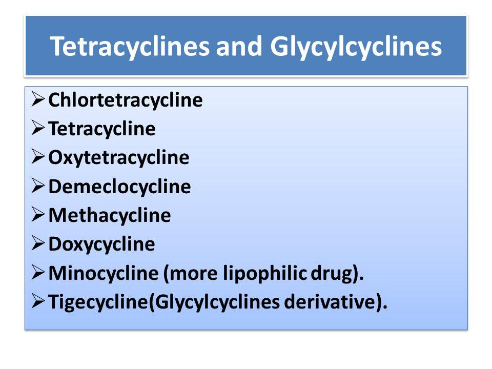 Tetracyclines and Glycylcyclines  Chlortetracycline  Tetracycline  Oxytetracycline  Demeclocycline  Methacycline  Doxycycline  Minocycline (mor