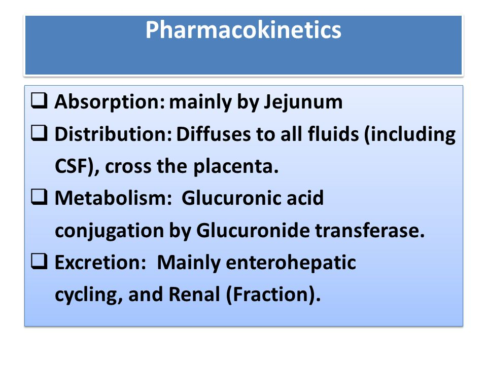 Pharmacokinetics  Absorption: mainly by Jejunum  Distribution: Diffuses to all fluids (including CSF), cross the placenta.  Metabolism: Glucuronic