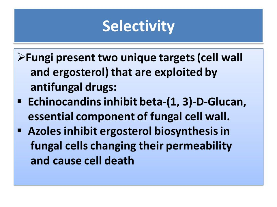 Selectivity  Fungi present two unique targets (cell wall and ergosterol) that are exploited by antifungal drugs:  Echinocandins inhibit beta-(1, 3)-D-Glucan, essential component of fungal cell wall.