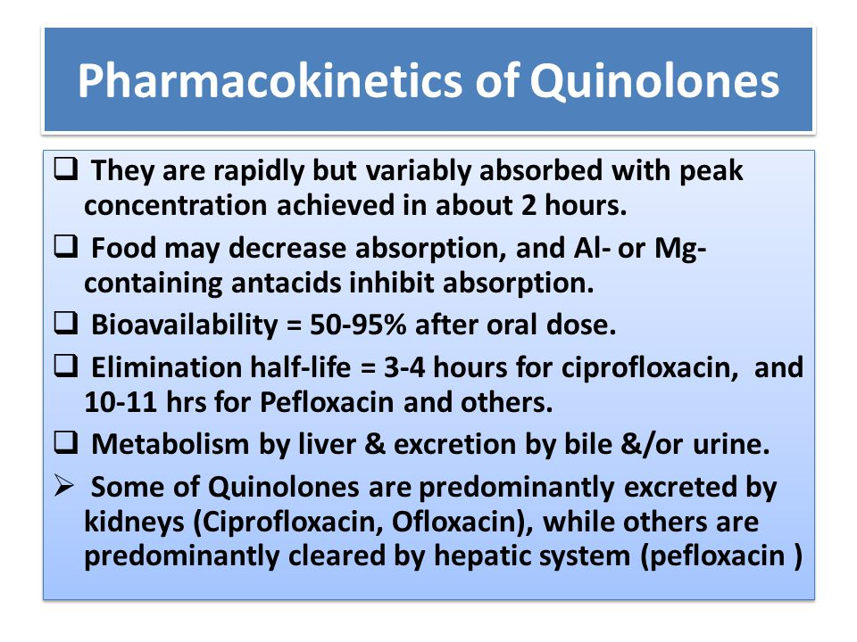 Pharmacokinetics of Quinolones  They are rapidly but variably absorbed with peak concentration achieved in about 2 hours.  Food may decrease absorpt