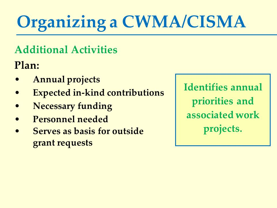 Organizing a CWMA/CISMA Additional Activities Plan: Annual projects Expected in-kind contributions Necessary funding Personnel needed Serves as basis for outside grant requests Identifies annual priorities and associated work projects.