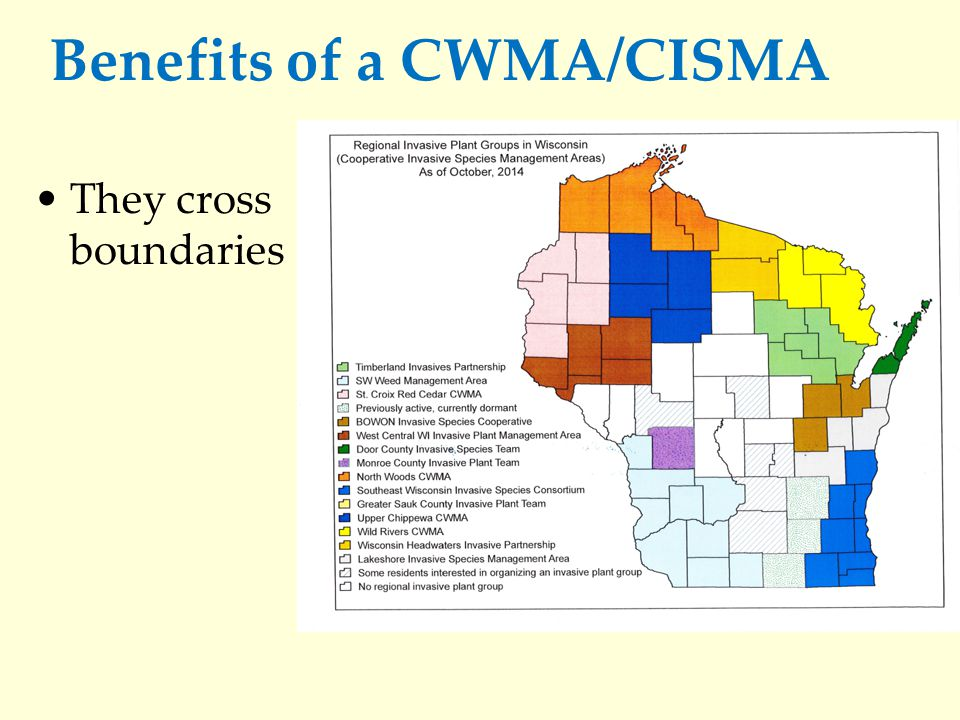 Benefits of a CWMA/CISMA They cross boundaries