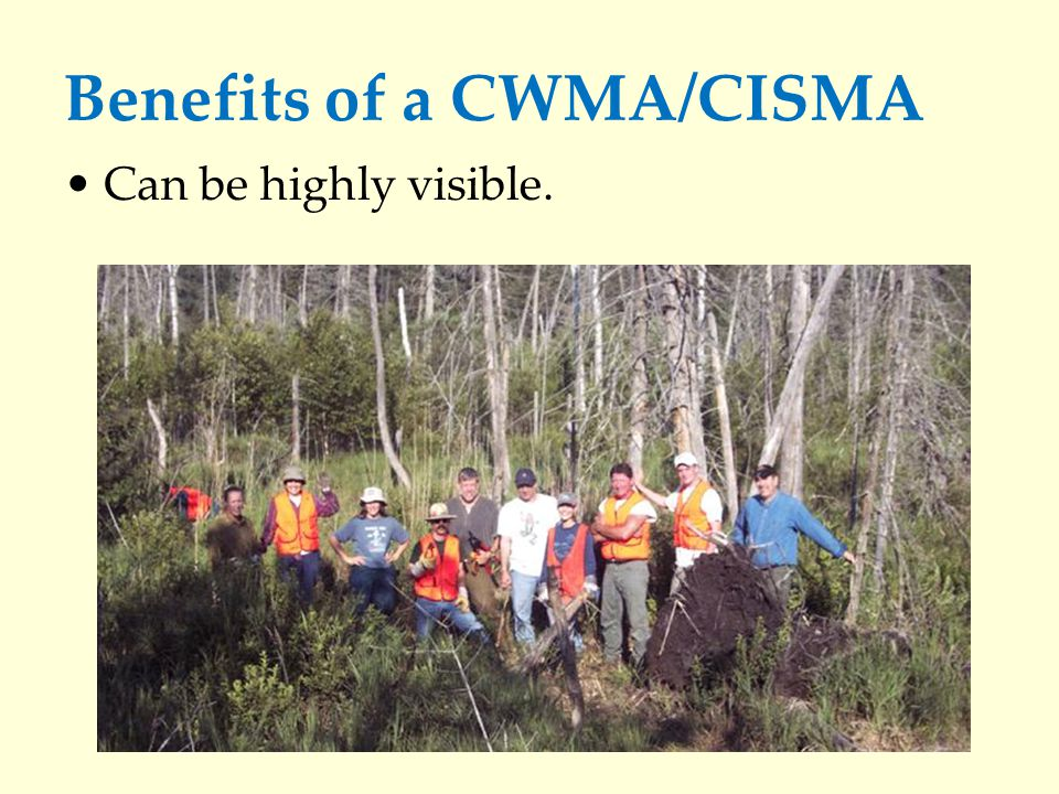 Benefits of a CWMA/CISMA Can be highly visible.