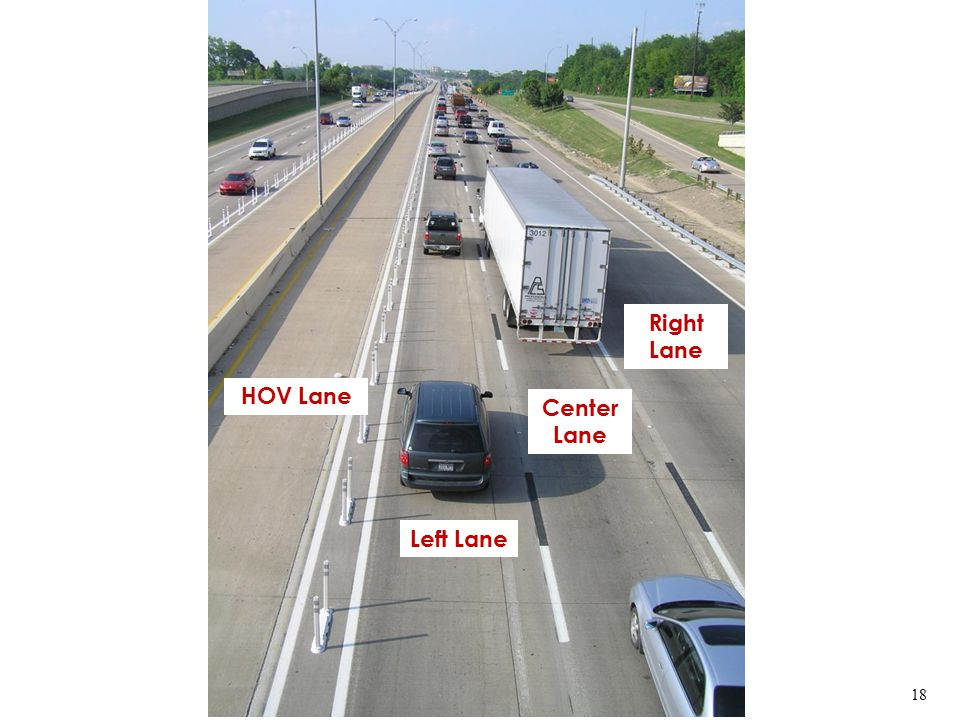 HOV Lane Left Lane Center Lane Right Lane 18