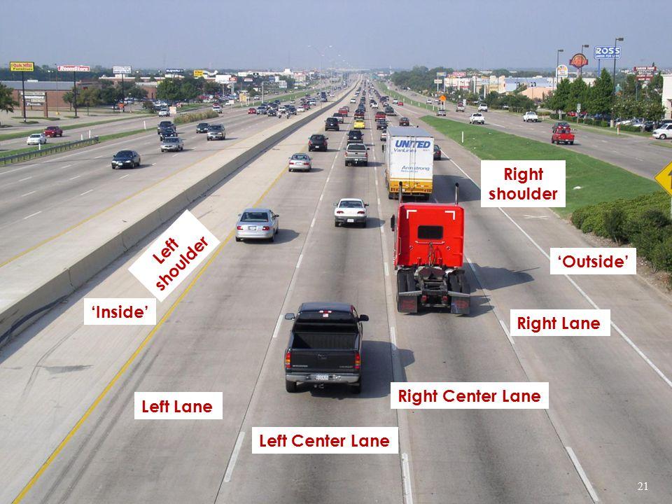 Left Lane Left Center Lane Right Lane 'Outside' Right Center Lane 'Inside' Left shoulder Right shoulder 21