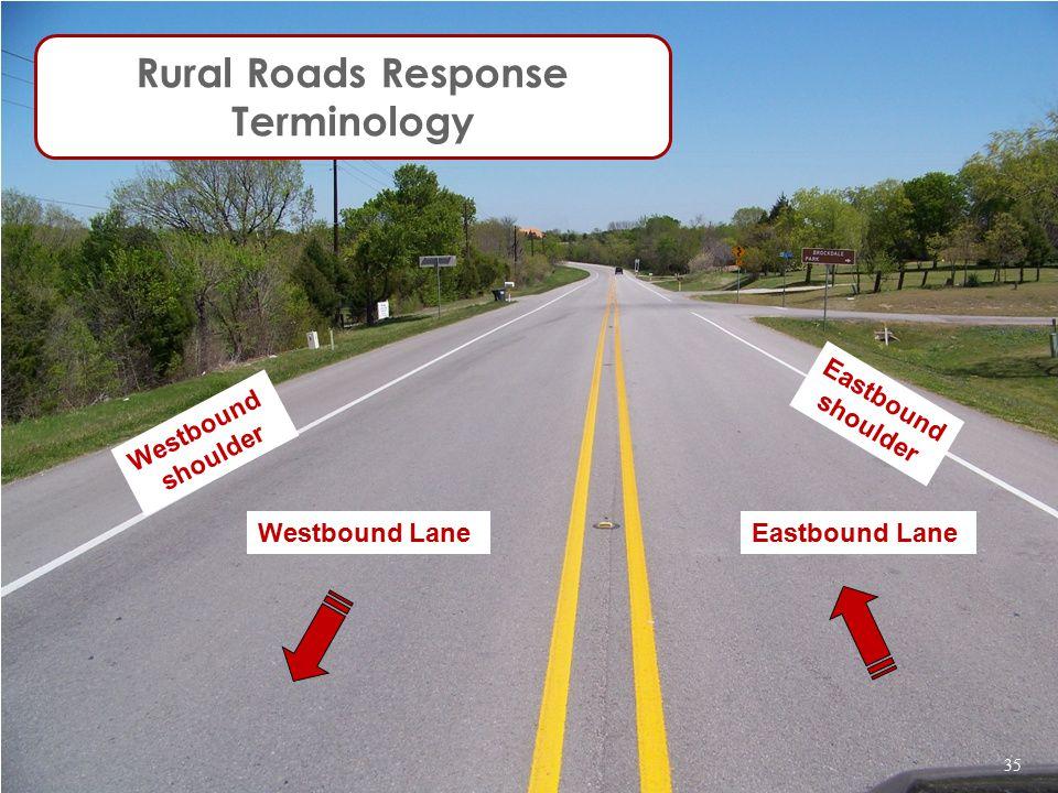 Westbound LaneEastbound Lane Westbound shoulder Eastbound shoulder Rural Roads Response Terminology 35