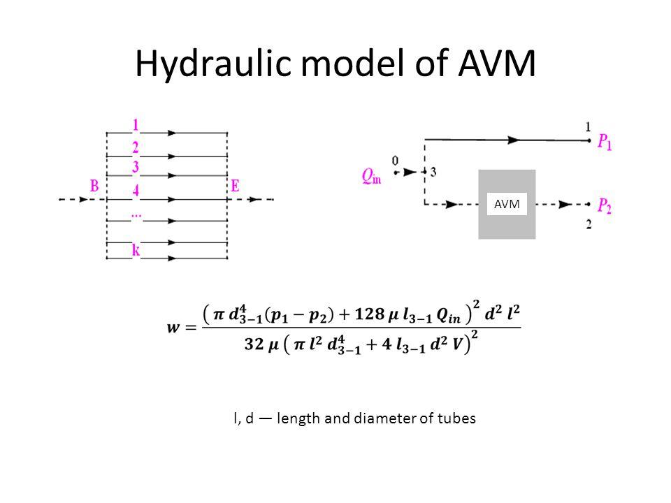 Hydraulic model of AVM l, d — length and diameter of tubes AVM