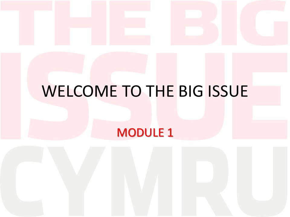 WELCOME TO THE BIG ISSUE MODULE 1