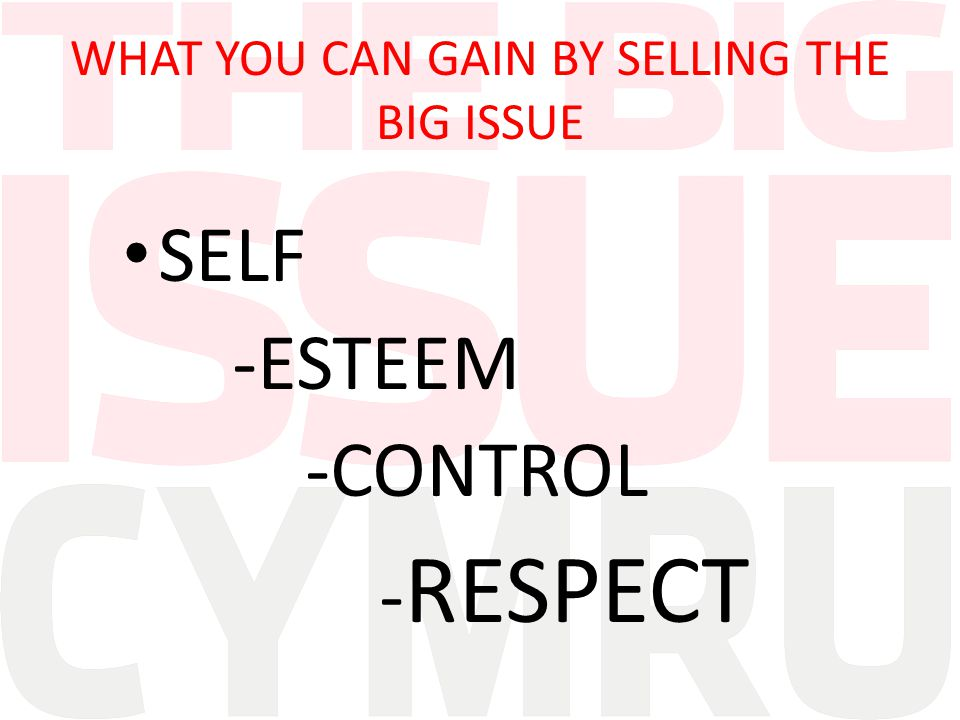 WHAT YOU CAN GAIN BY SELLING THE BIG ISSUE SELF -ESTEEM -CONTROL - RESPECT