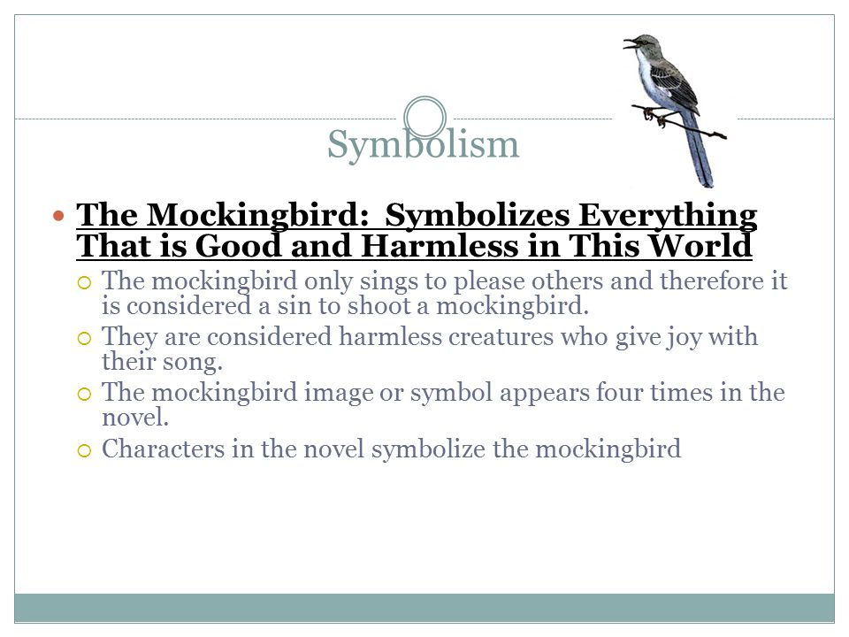 symbols to kill a mockingbird As one of the great pieces of american literature, to kill a mockingbird is a book that possesses countless symbols in its pages.