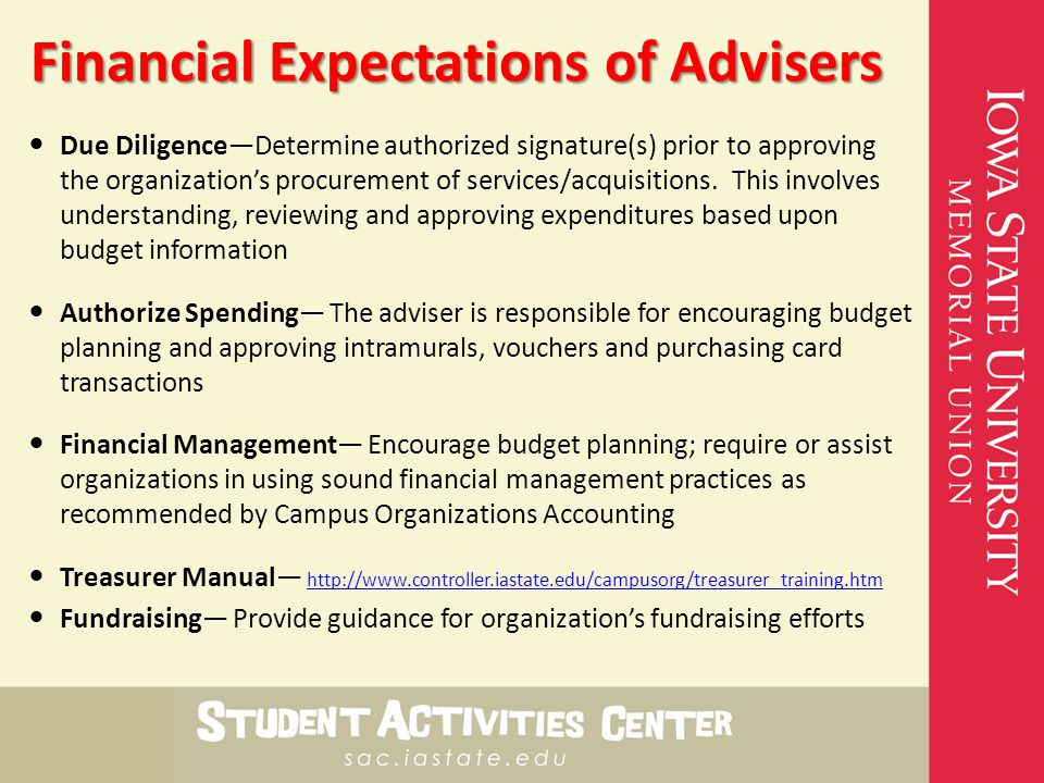 Financial Expectations of Advisers Due Diligence—Determine authorized signature(s) prior to approving the organization's procurement of services/acquisitions.