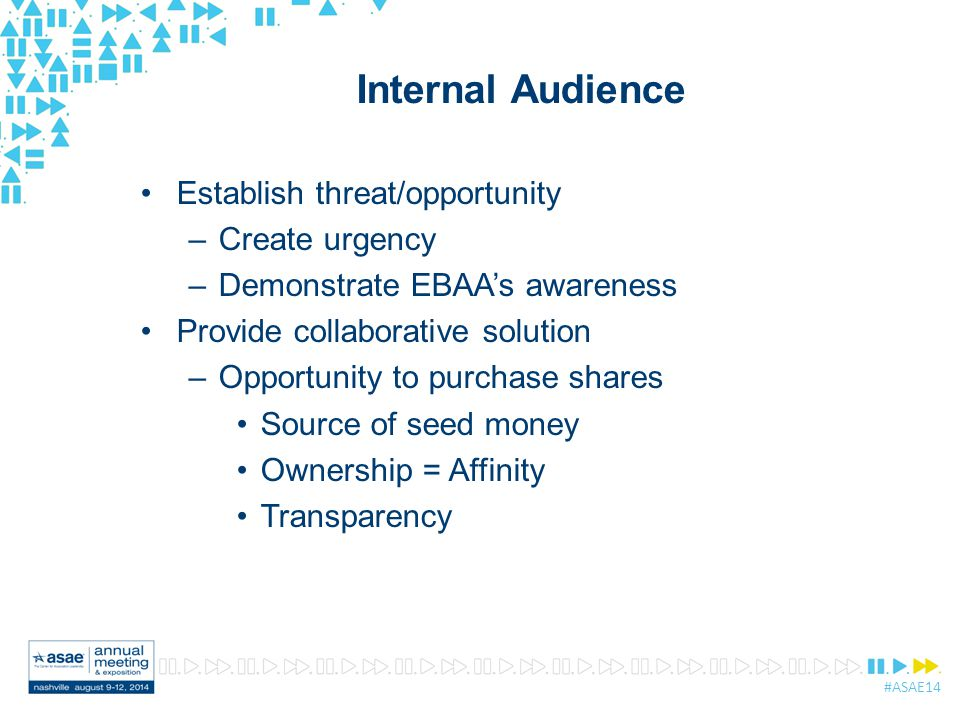 #ASAE14 Internal Audience Establish threat/opportunity –Create urgency –Demonstrate EBAA's awareness Provide collaborative solution –Opportunity to purchase shares Source of seed money Ownership = Affinity Transparency