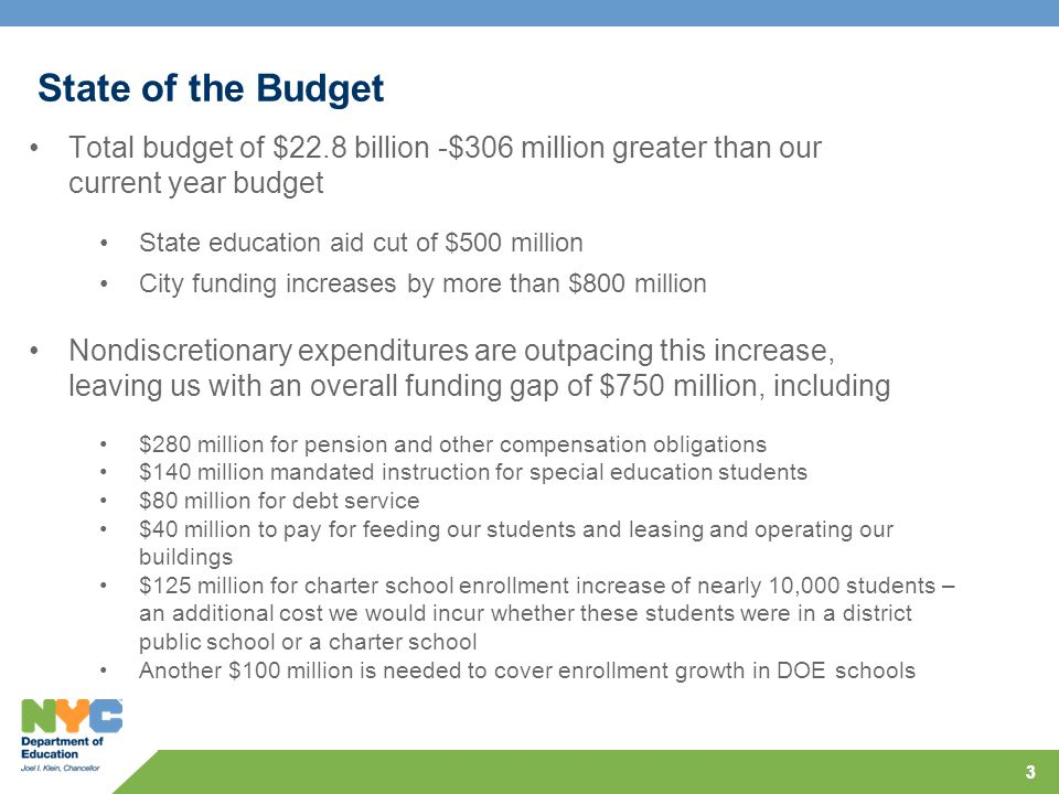 33 State of the Budget Total budget of $22.8 billion -$306 million greater than our current year budget Nondiscretionary expenditures are outpacing this increase, leaving us with an overall funding gap of $750 million, including $280 million for pension and other compensation obligations $140 million mandated instruction for special education students $80 million for debt service $40 million to pay for feeding our students and leasing and operating our buildings $125 million for charter school enrollment increase of nearly 10,000 students – an additional cost we would incur whether these students were in a district public school or a charter school Another $100 million is needed to cover enrollment growth in DOE schools State education aid cut of $500 million City funding increases by more than $800 million