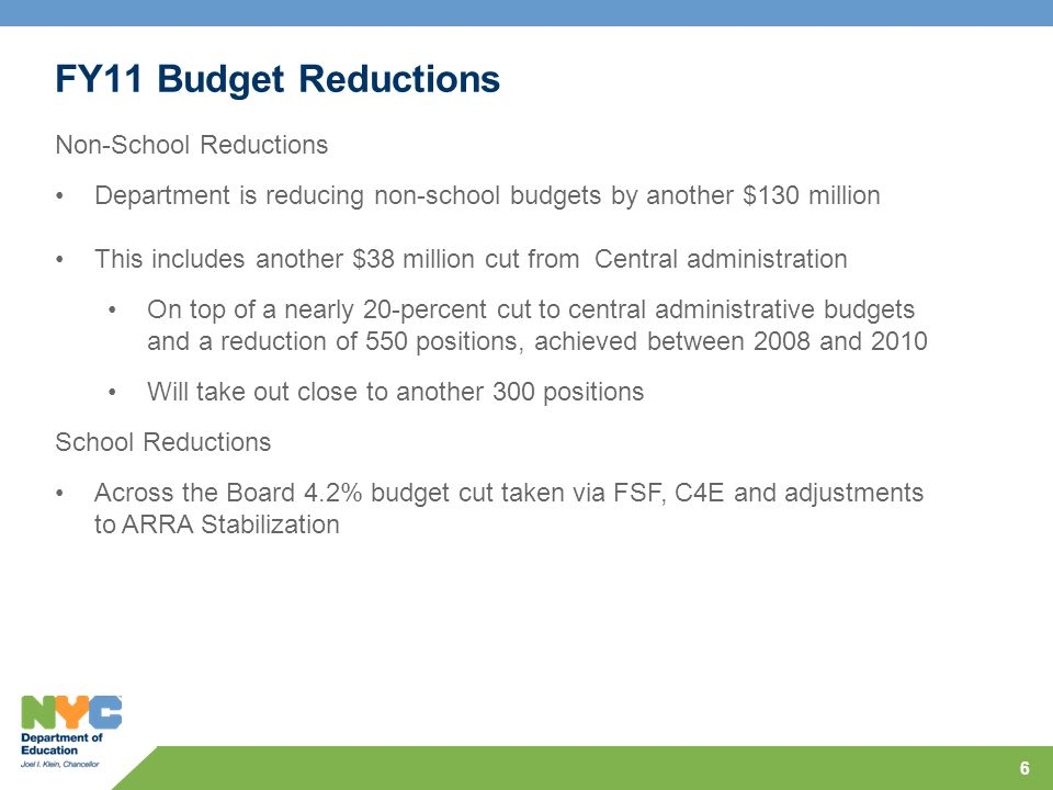 Other Changes in FY11 Changes will include: Across the board percentage cut Shifting funds for operating capacity Enrollment adjustments to properly reflect decline in FSF Fully reflect enrollment growth Hold schools unable to meet their budget cuts harmless for deficit roll Remove shared allocation categories from base budget 7 Goal: Equitable impact within the environment of declining budgets.