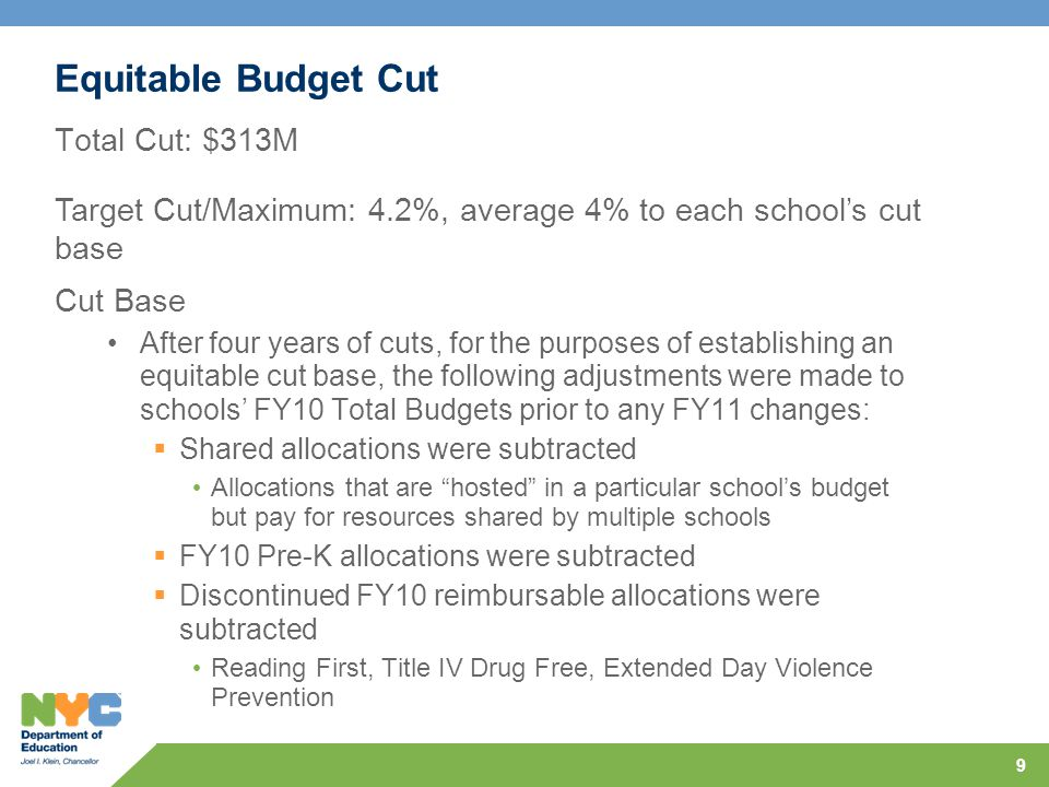 Equitable Budget Cut Cut Components C4E: 6% cut as per Governor's Executive Budget  Required to maintain funding for existing C4E programs less the percentage reduction in the Gap Elimination Adjustment  $39M cut equally across all schools from $242M of C4E Discretionary Funds FSF: 4.03% cut applied to Preliminary FY11 FSF  Total: $186.5M cut from $4.6B 10 ARRA Stabilization Funds Used to Bring Every School to 4.2% of Cut Base (219 schools have less than 4.2% cut due to mix of funding streams)