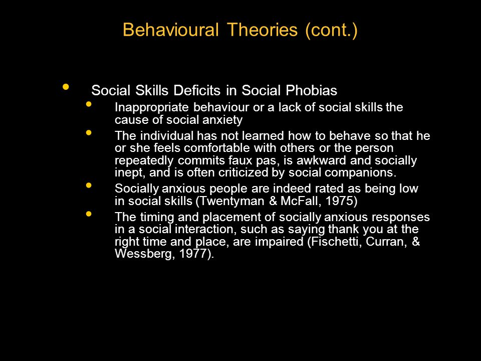 Aetiology of Phobia (cont.) Cognitive Theories Focus on how people's thought processes can serve as a diathesis and on how thoughts can maintain a phobia Anxiety is related to being more likely to: Attend to negative stimuli Interpret ambiguous information as threatening Believe that negative events are more likely than positive ones to re-occur