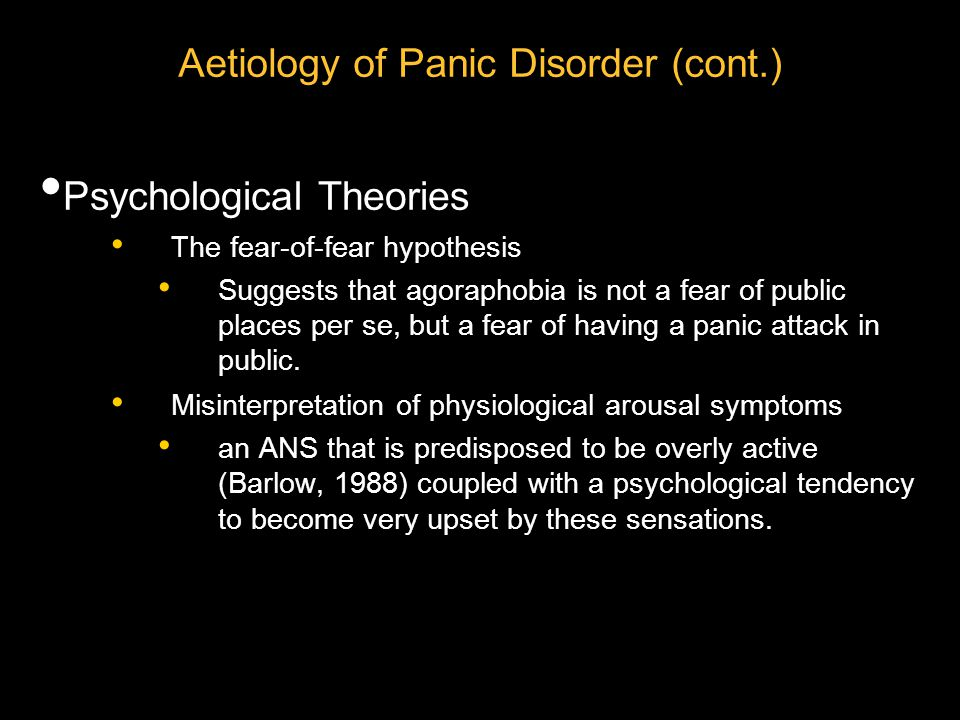 A Vicious Circle: Panic Attacks When high physiological arousal occurs, some people construe these unusual autonomic reactions (such as rapid heart rate) as a sign of great danger or even as a sign that they are dying.