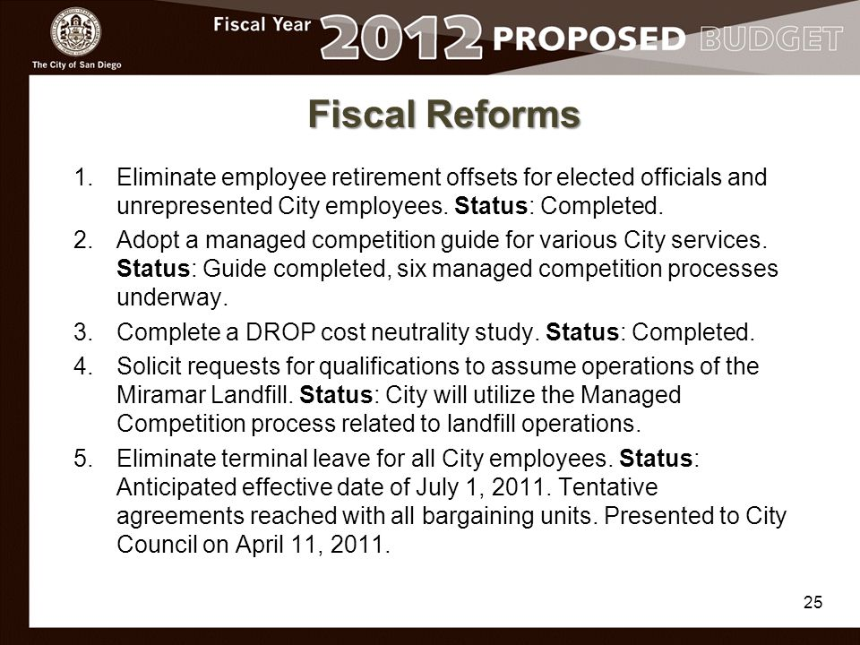 Fiscal Reforms 1.Eliminate employee retirement offsets for elected officials and unrepresented City employees.