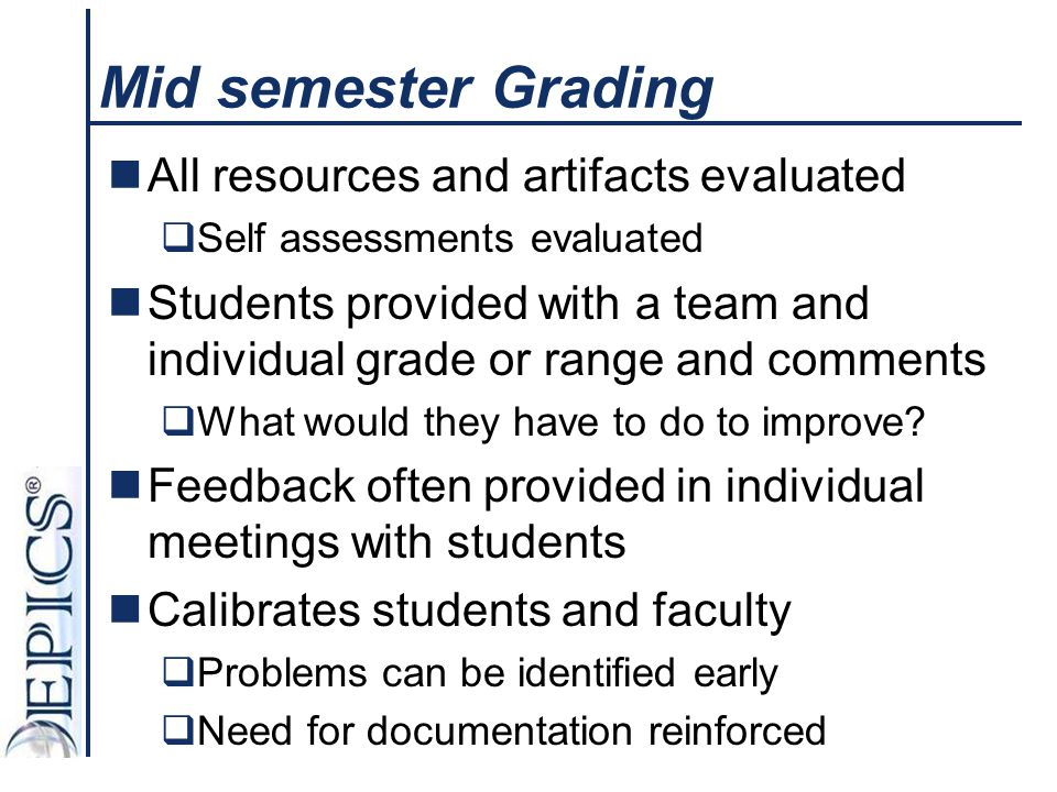 Mid semester Grading All resources and artifacts evaluated  Self assessments evaluated Students provided with a team and individual grade or range an