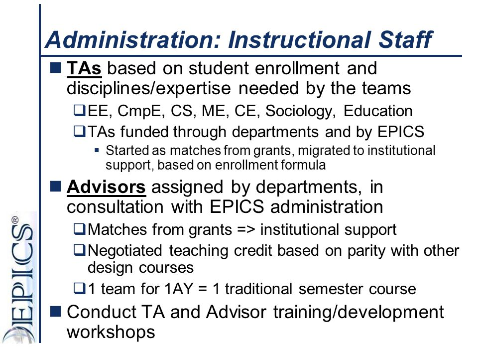 Administration: Instructional Staff TAs based on student enrollment and disciplines/expertise needed by the teams  EE, CmpE, CS, ME, CE, Sociology, E