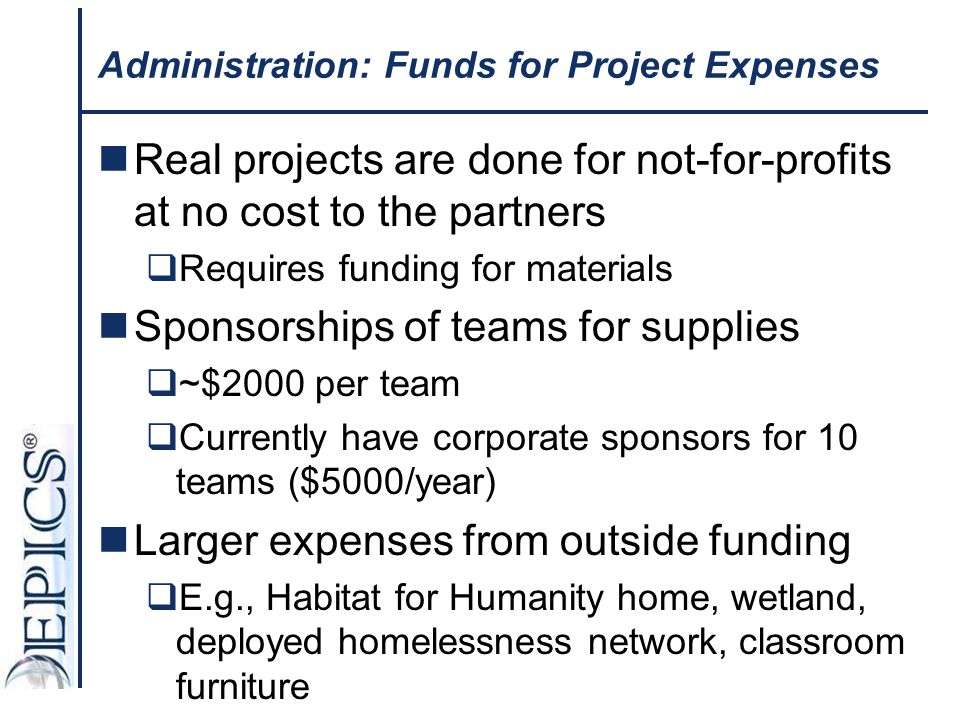 Administration: Funds for Project Expenses Real projects are done for not-for-profits at no cost to the partners  Requires funding for materials Spon