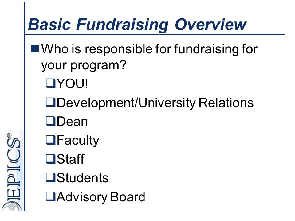 Basic Fundraising Overview Who is responsible for fundraising for your program?  YOU!  Development/University Relations  Dean  Faculty  Staff  S