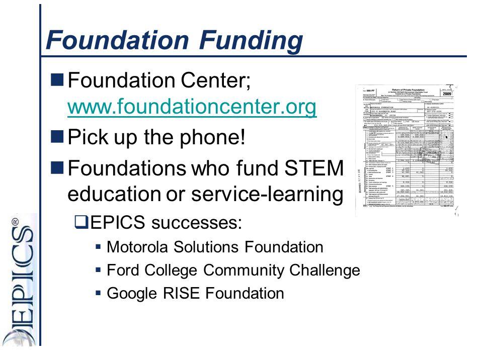 Foundation Funding Foundation Center; www.foundationcenter.org www.foundationcenter.org Pick up the phone! Foundations who fund STEM education or serv