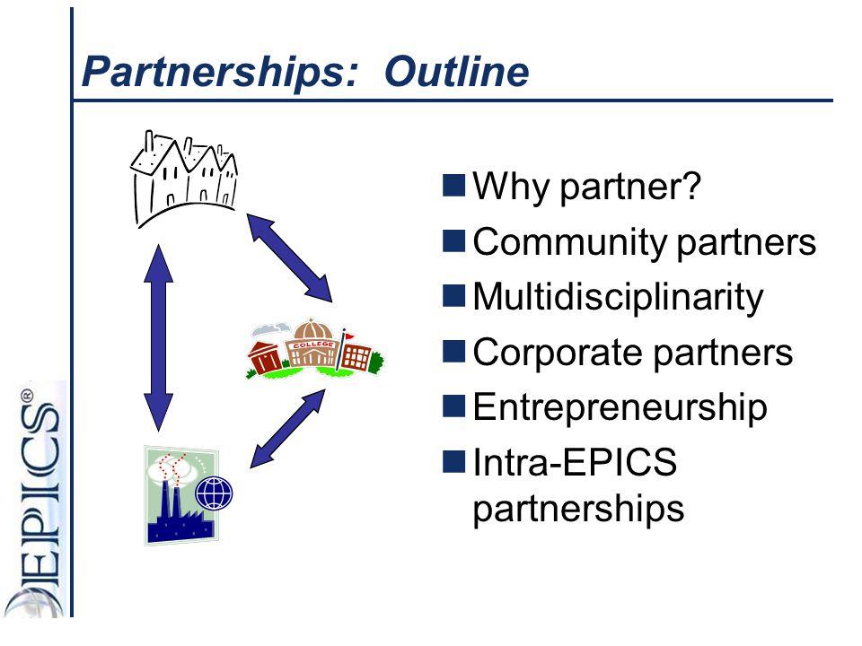 Partnerships: Outline Why partner? Community partners Multidisciplinarity Corporate partners Entrepreneurship Intra-EPICS partnerships