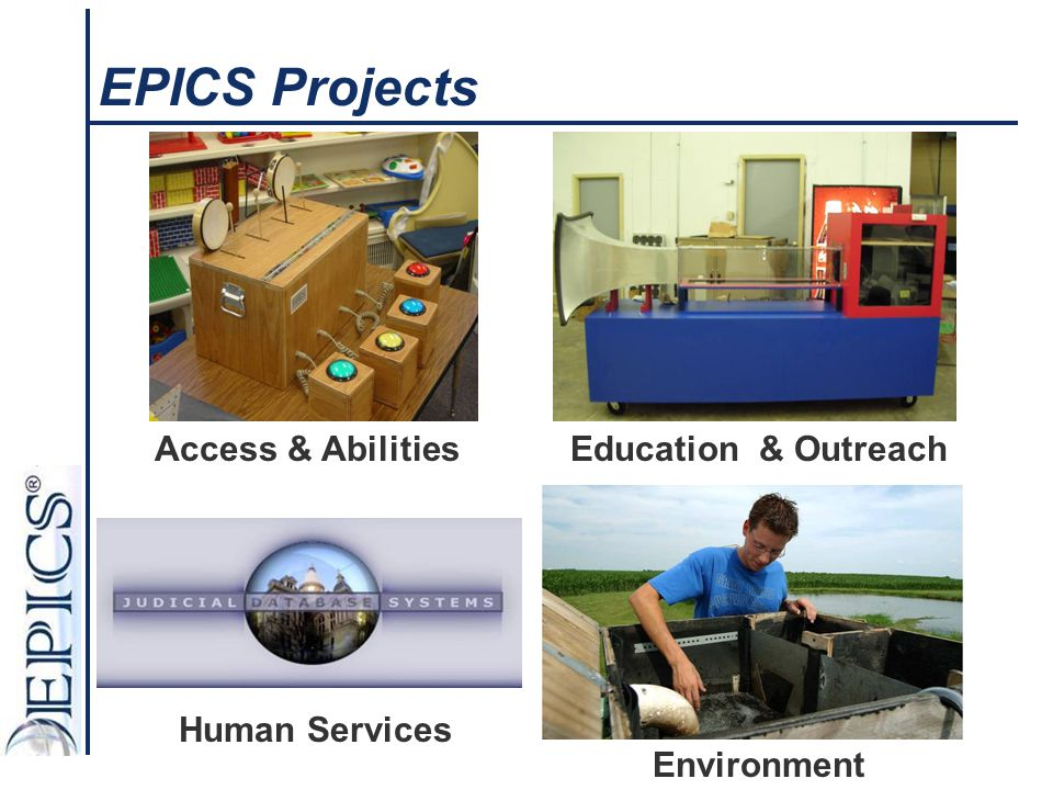 EPICS Projects Access & Abilities Human Services Environment Education & Outreach