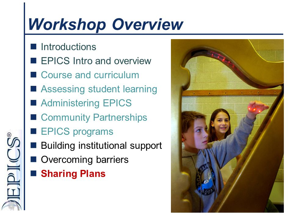EPICS Programs Integrating into Curricula EPICS Curriculum Provides Service- Learning Design Education Project Management Community Partnerships Disciplinary Knowledge from Departments EPICS Programs Projects and Needs from Local/Global Community Institutional Curriculum and Culture