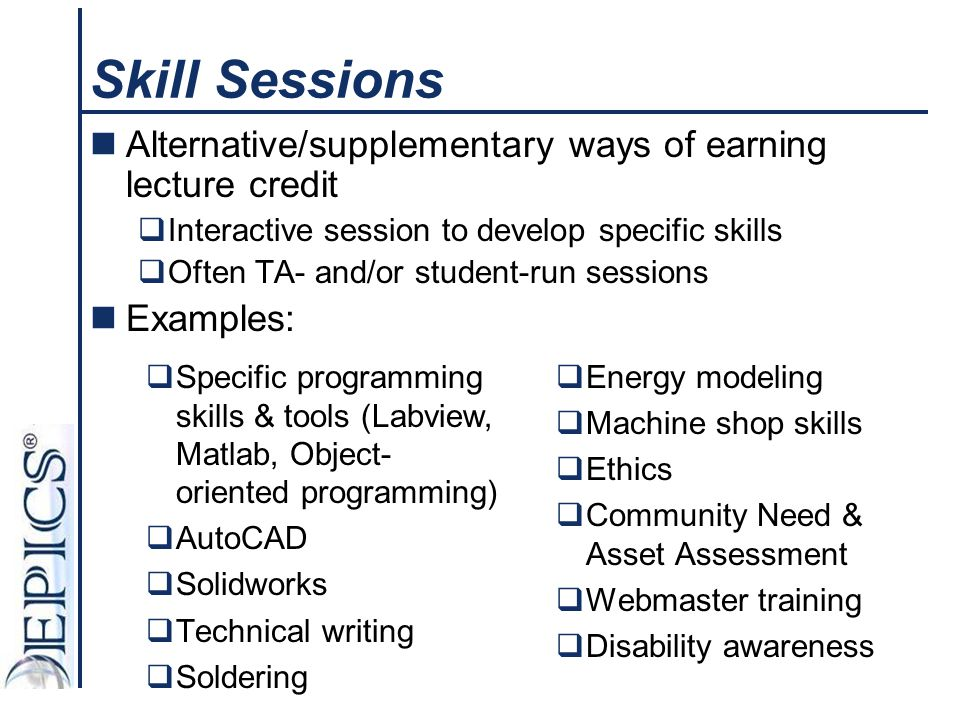 Skill Sessions Alternative/supplementary ways of earning lecture credit  Interactive session to develop specific skills  Often TA- and/or student-ru